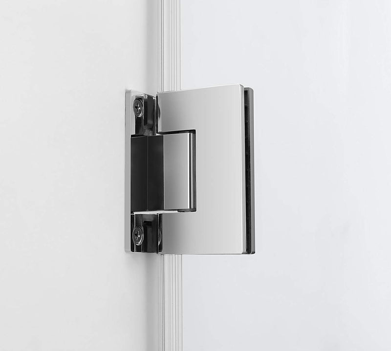 Aston Belmore GS 66.25 in. to 67.25 in. x 72 in. Frameless Hinged Shower Door with Glass Shelves in Chrome 5
