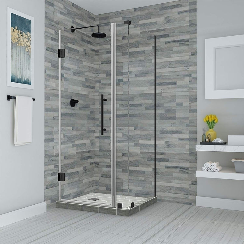 Aston Bromley 32.25 in. to 33.25 in. x 36.375 in. x 72 in. Frameless Corner Hinged Shower Enclosure in Oil Rubbed Bronze