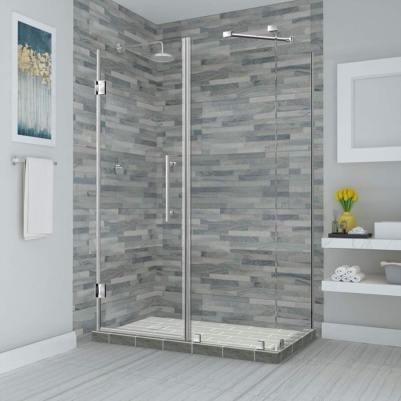 Aston Bromley 63.25 in. to 64.25 in. x 32.375 in. x 72 in. Frameless Corner Hinged Shower Enclosure in Stainless Steel
