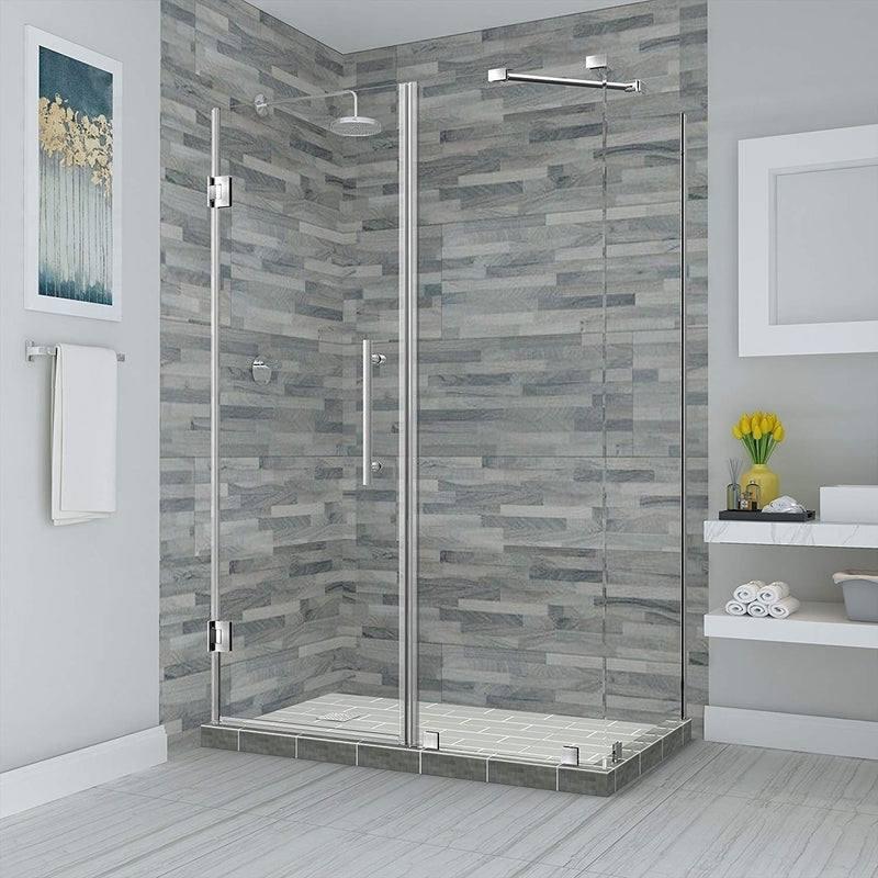 Aston Bromley 75.25 in. to 76.25 in. x 38.375 in. x 72 in. Frameless Corner Hinged Shower Enclosure in Stainless Steel