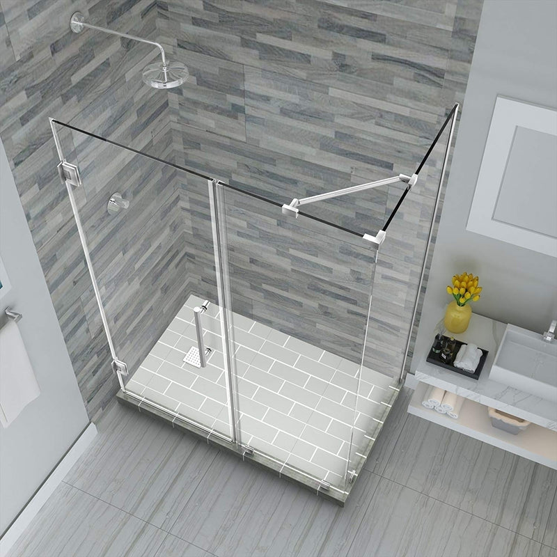 Aston Bromley 75.25 in. to 76.25 in. x 38.375 in. x 72 in. Frameless Corner Hinged Shower Enclosure in Stainless Steel 2