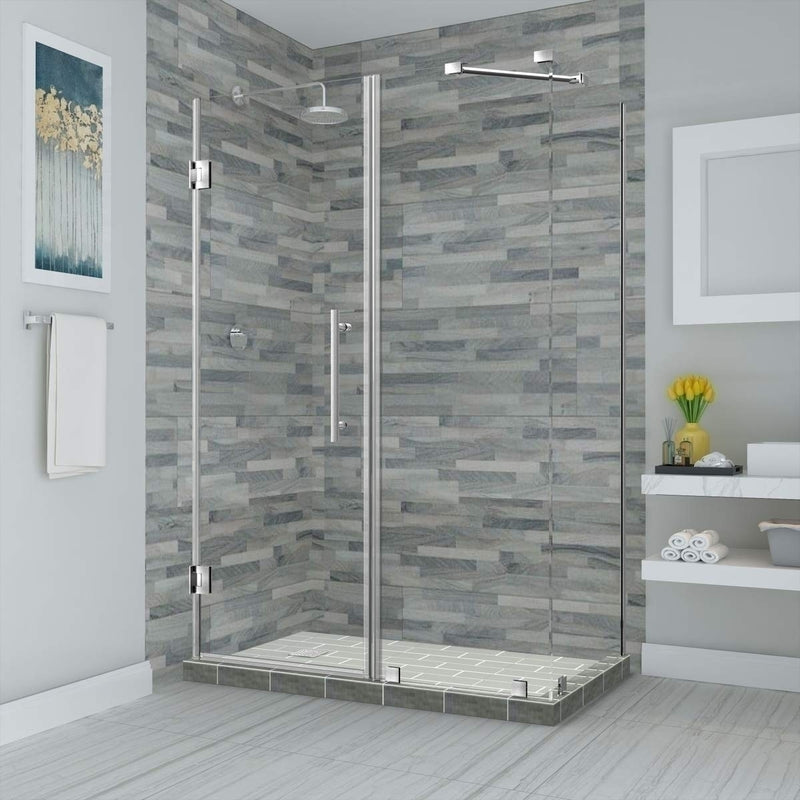 Aston Bromley 67.25 in. to 68.25 in. x 32.375 in. x 72 in. Frameless Corner Hinged Shower Enclosure in Stainless Steel