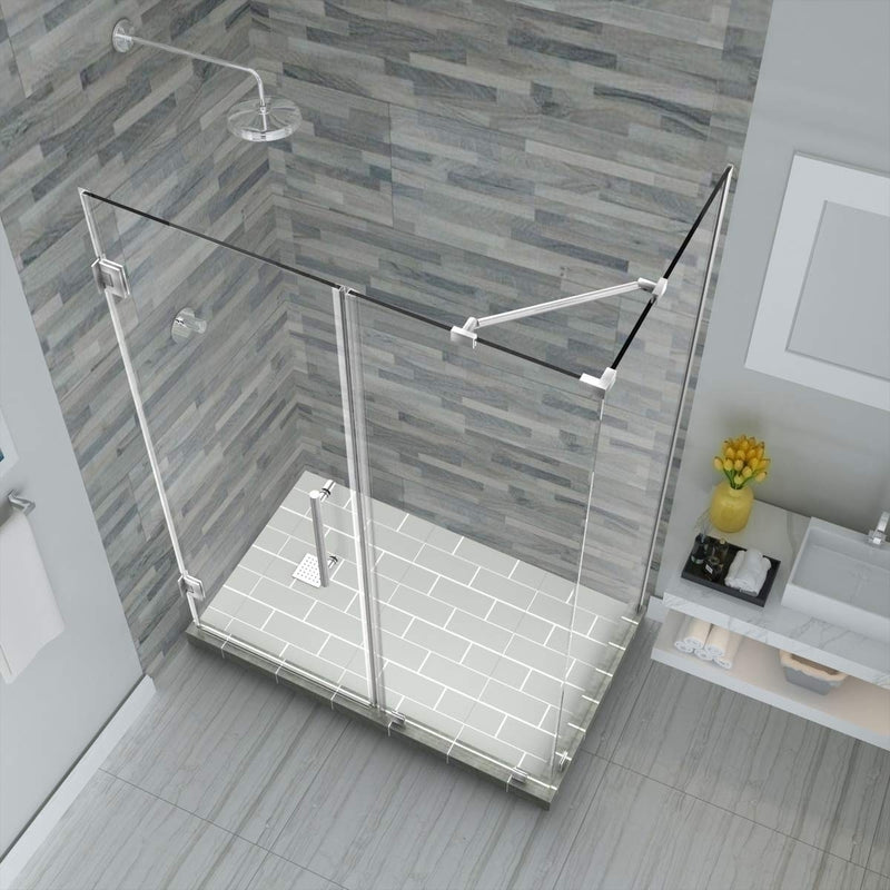 Aston Bromley 65.25 in. to 66.25 in. x 36.375 in. x 72 in. Frameless Corner Hinged Shower Enclosure in Stainless Steel 2