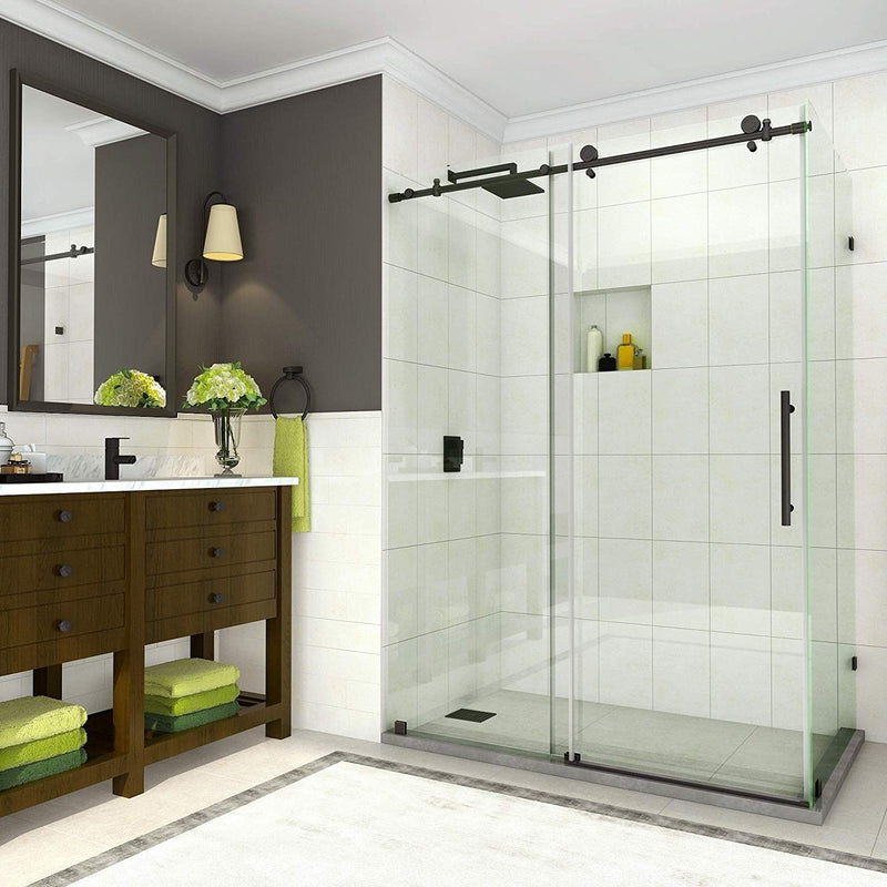 Aston Coraline 56 in. to 60 in. x 33.875 in. x 76 in. Frameless Sliding Shower Enclosure in Oil Rubbed Bronze