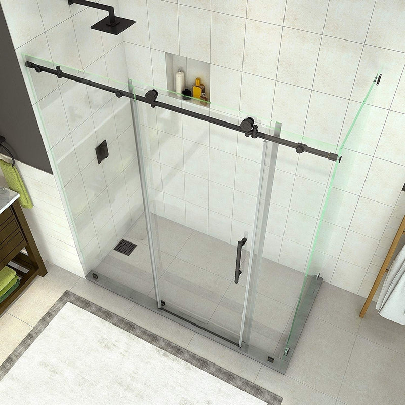 Aston Coraline 68 in. to 72 in. x 33.875 in. x 76 in. Frameless Sliding Shower Enclosure in Oil Rubbed Bronze 2