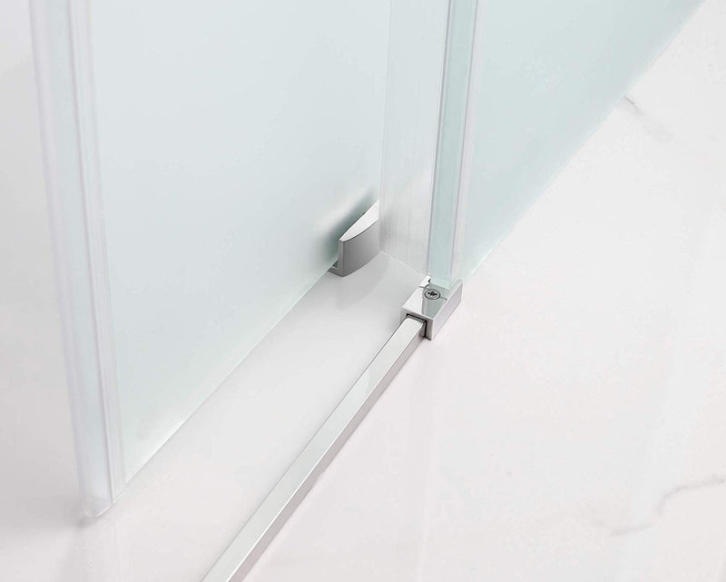 Aston Coraline 56 in. to 60 in. x 33.875 in. x 76 in. Frameless Sliding Shower Enclosure with Frosted Glass in Stainless Steel 3