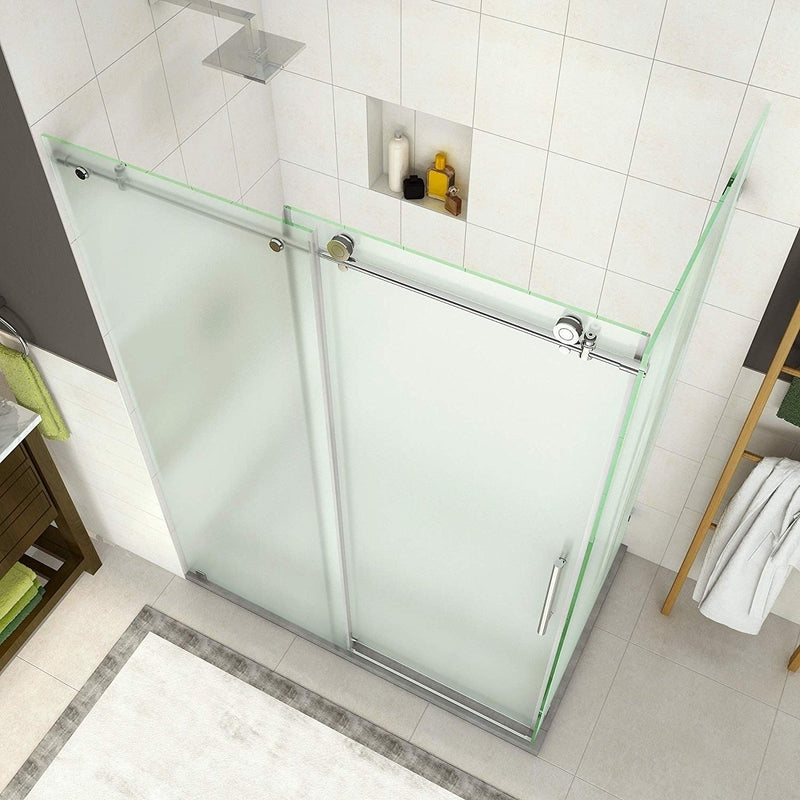 Aston Coraline 56 in. to 60 in. x 33.875 in. x 76 in. Frameless Sliding Shower Enclosure with Frosted Glass in Stainless Steel 4