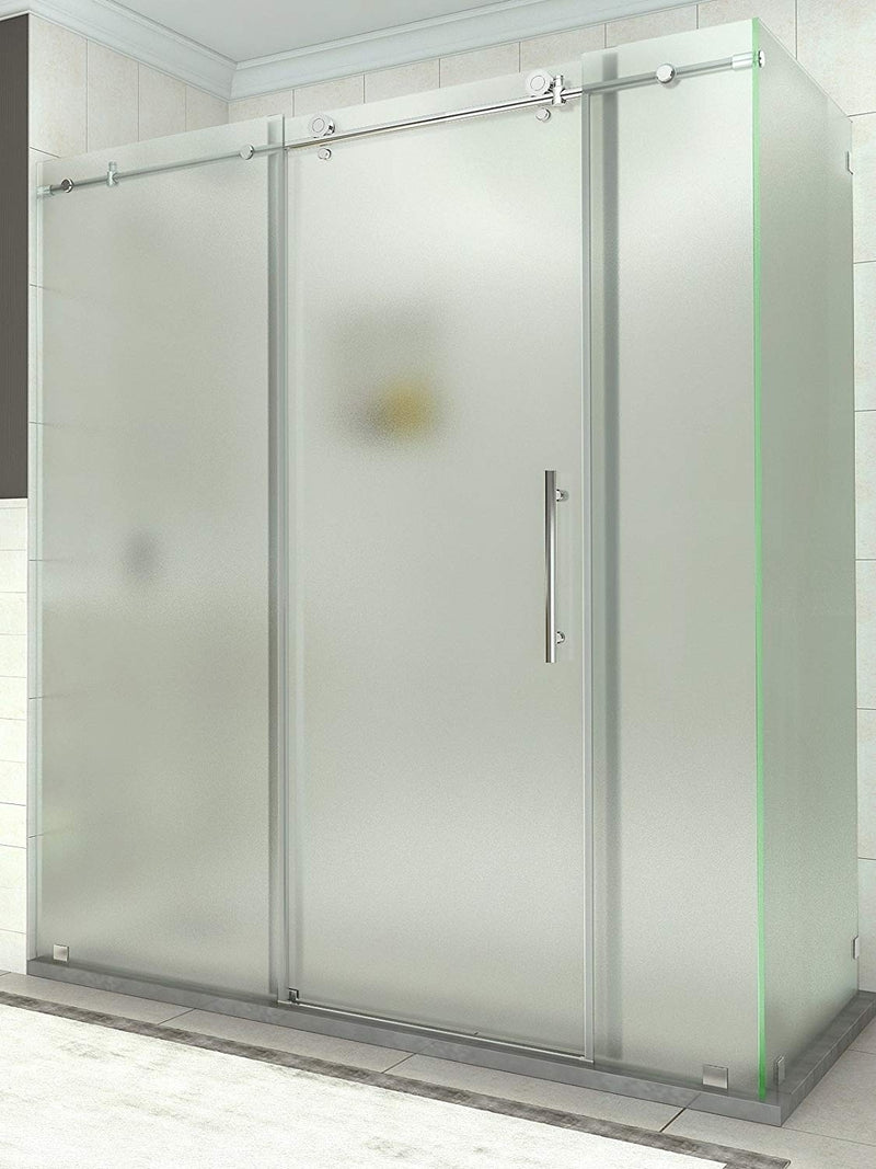 Aston Coraline 68 in. to 72 in. x 33.875 in. x 76 in. Frameless Sliding Shower Enclosure with Frosted Glass in Chrome