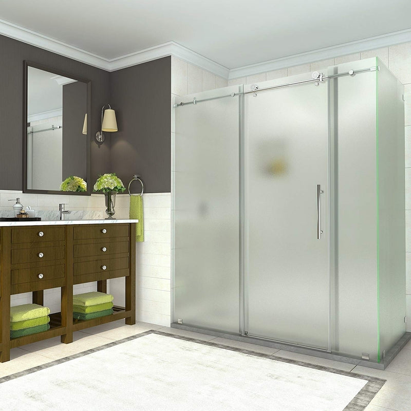 Aston Coraline 68 in. to 72 in. x 33.875 in. x 76 in. Frameless Sliding Shower Enclosure with Frosted Glass in Chrome 2