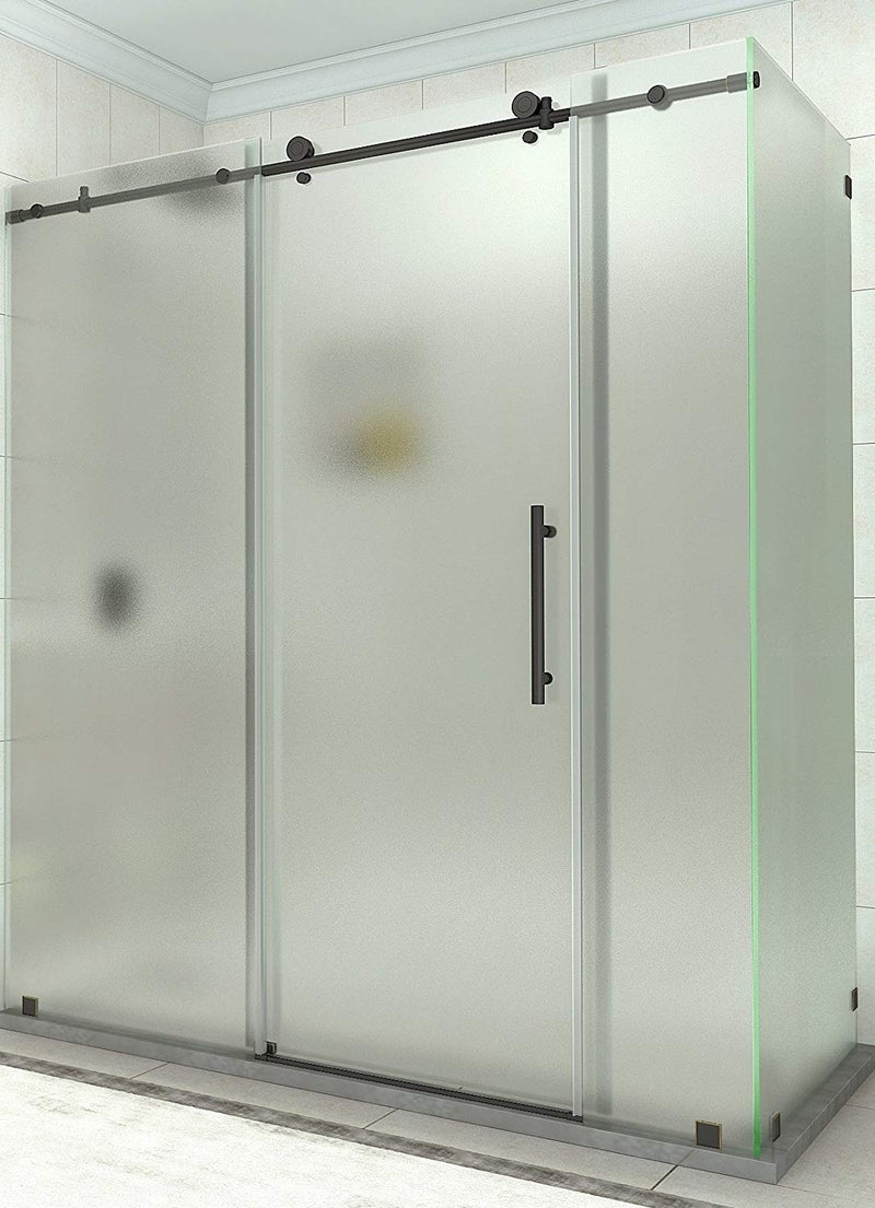 Aston Coraline 68 in. to 72 in. x 33.875 in. x 76 in. Frameless Sliding Shower Enclosure with Frosted Glass in Oil Rubbed Bronze
