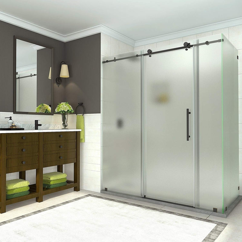 Aston Coraline 68 in. to 72 in. x 33.875 in. x 76 in. Frameless Sliding Shower Enclosure with Frosted Glass in Oil Rubbed Bronze 2