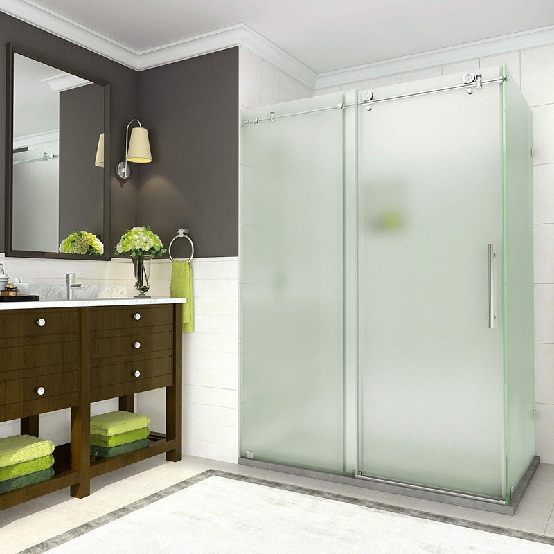Aston Coraline 56 in. to 60 in. x 33.875 in. x 76 in. Frameless Sliding Shower Enclosure with Frosted Glass in Stainless Steel