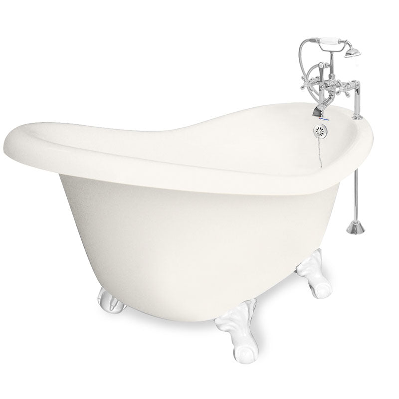 "American Bath Factory Ascot 60"" Bisque AcraStone Package"