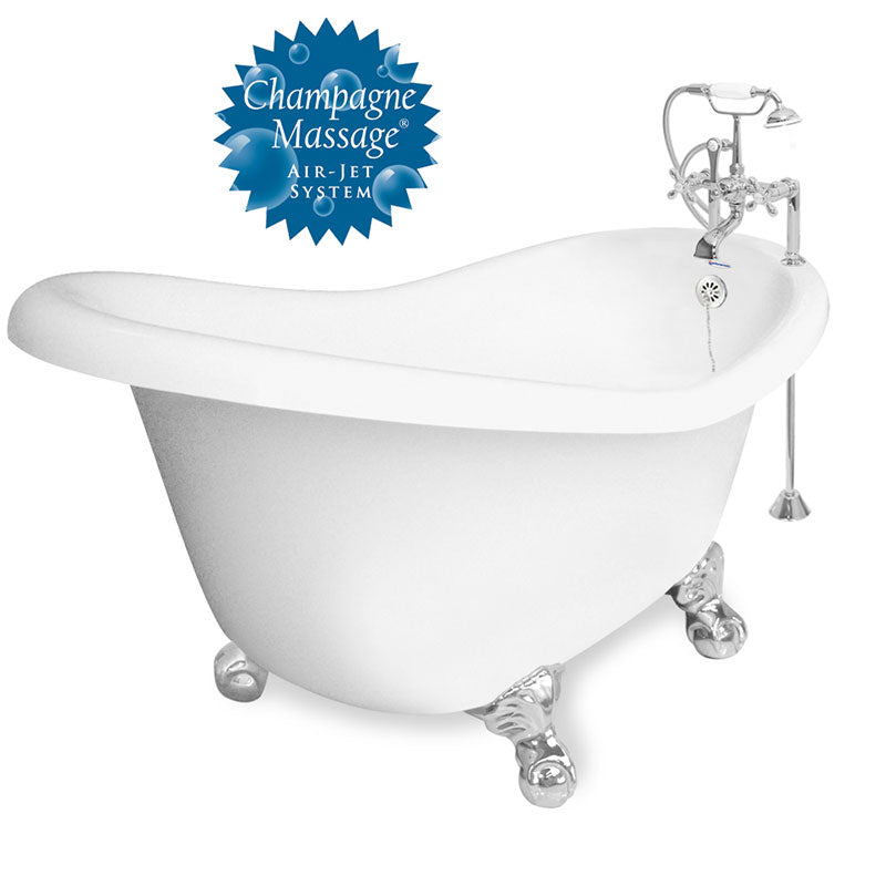 "American Bath Factory Champagne Ascot 60"" White AcraStone Package"