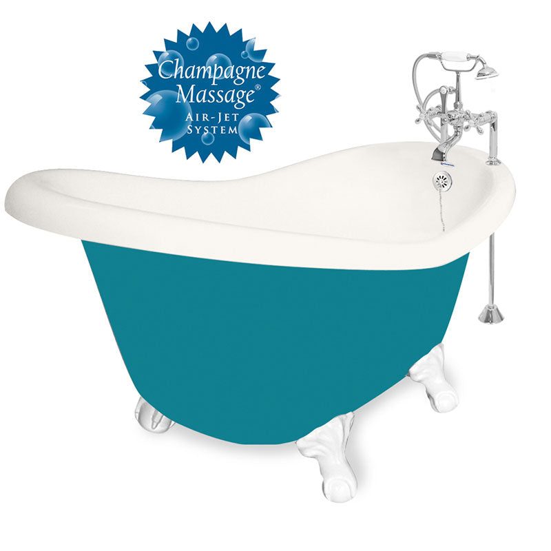 "American Bath Factory 60"" Ascot in Bisque and Splash of Color with White Finish and F100A Deck Mount"