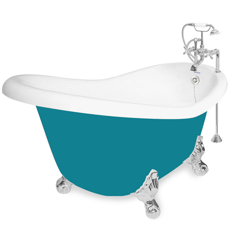"American Bath Factory 60"" Ascot in Splash of Color with Chrome Finish and F100A Deck Mount"