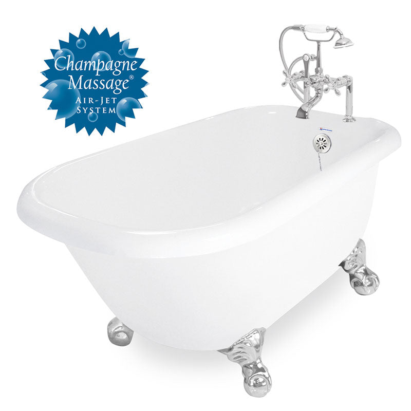 "American Bath Factory Champagne Jester 54"" White AcraStone Package"