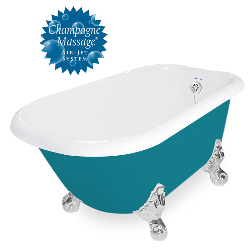 "American Bath Factory Champagne Jester 54"" Splash of Color AcraStone Tub & Drain, No Faucet Holes"