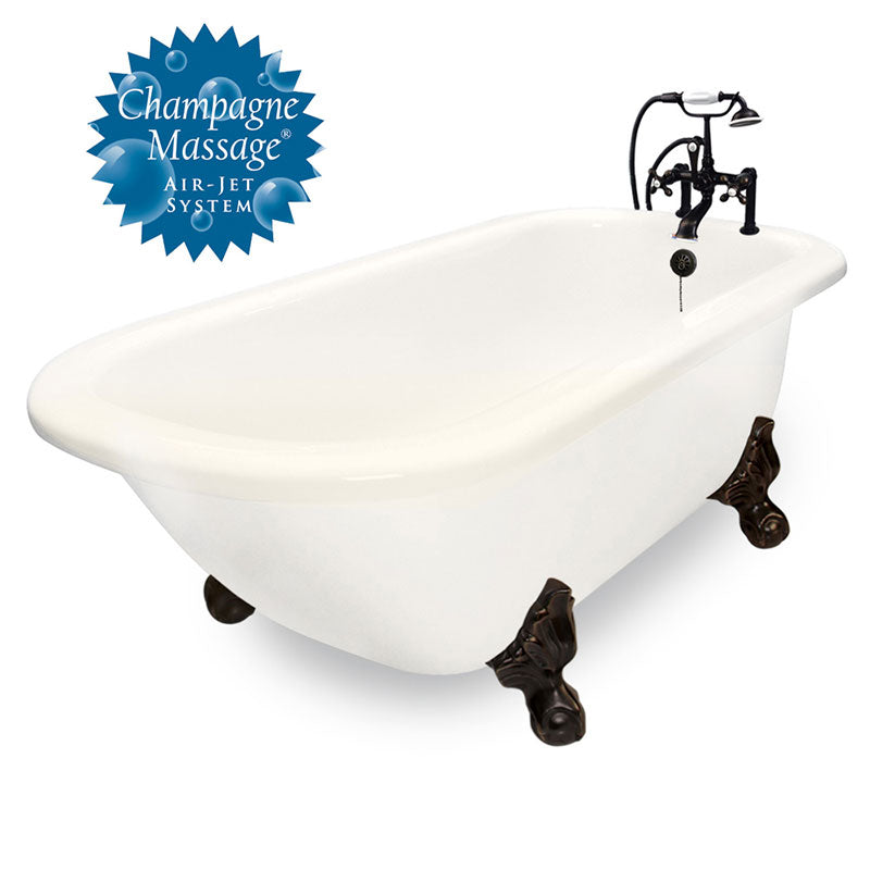 "American Bath Factory Champagne Trinity 60"" Bisque AcraStone Package"