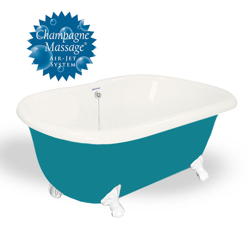 "American Bath Factory 60"" Melinda in Bisque and Splash of Color with White Finish and Pre-Drilled Holes"