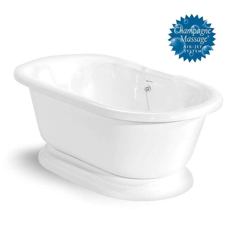 "American Bath Factory Nobb Hill 60"" White AcraStone Tub & Drain, No Faucet Holes"