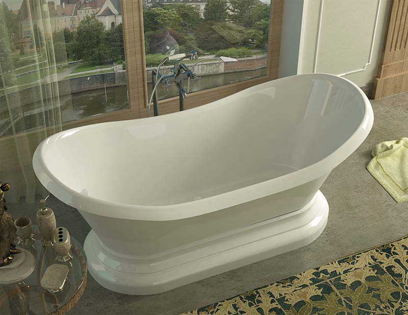 Venzi Midas 34 x 71 x 18 Oval Freestanding Soaker Bathtub with Center Drain By Atlantis