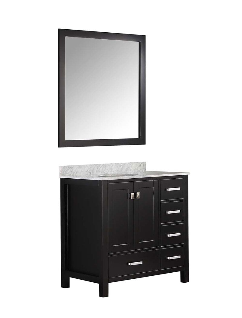 Anzzi Chateau 36 in. W x 22 in. D Vanity in Espresso with Marble Vanity Top in Carrara White with White Basin and Mirror 14