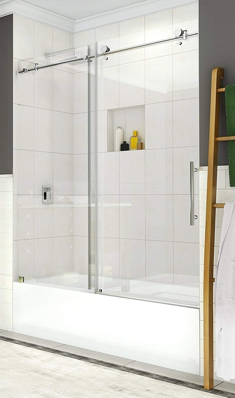 Aston Coraline 56 in. to 60 in. x 60 in. Frameless Sliding Tub Door in Chrome