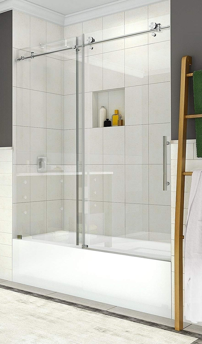 Aston Coraline 56 in. to 60 in. x 60 in. Frameless Sliding Tub Door in Stainless Steel