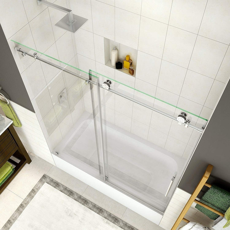Aston Coraline 56 in. to 60 in. x 60 in. Frameless Sliding Tub Door in Stainless Steel 2