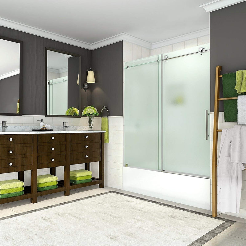 Aston Coraline 56 in. to 60 in. x 60 in. Frameless Sliding Tub Door with Frosted Glass in Chrome