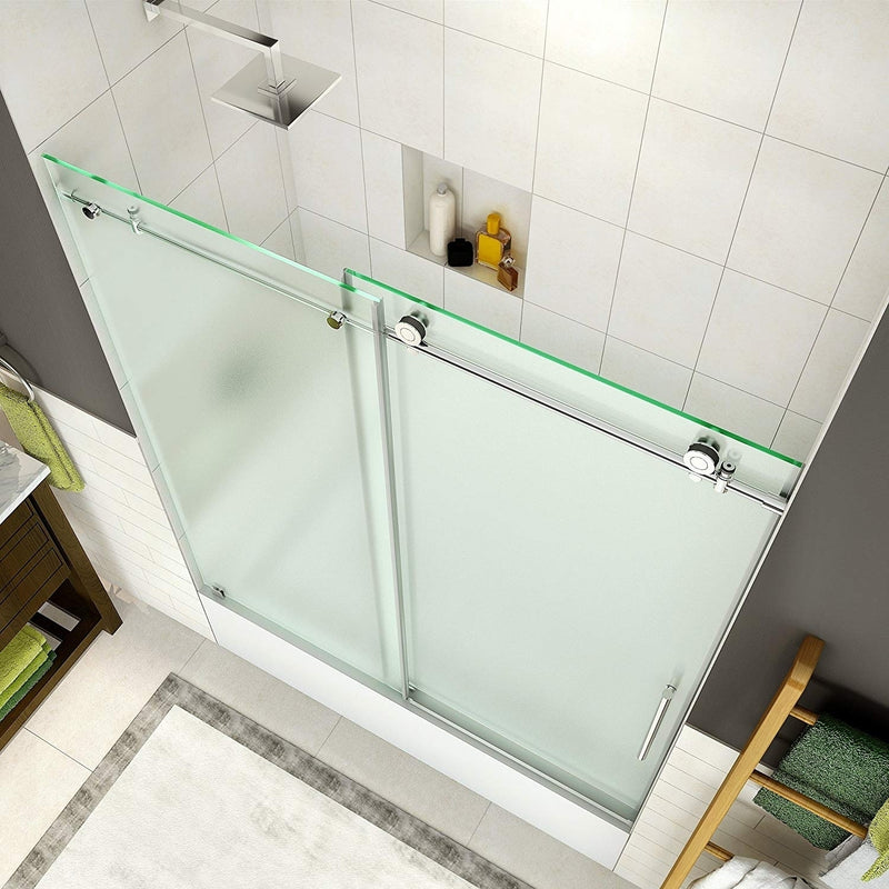 Aston Coraline 56 in. to 60 in. x 60 in. Frameless Sliding Tub Door with Frosted Glass in Chrome 2
