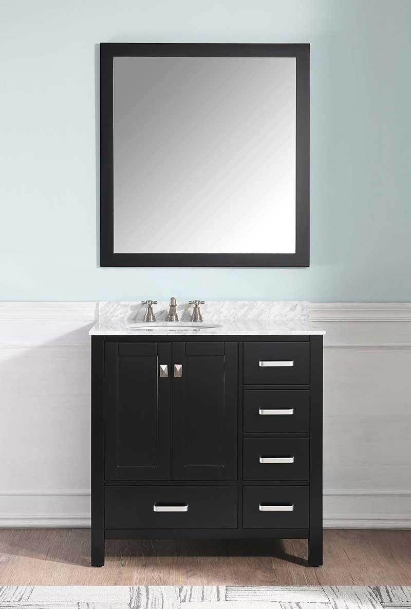 Anzzi Chateau 36 in. W x 22 in. D Vanity in Espresso with Marble Vanity Top in Carrara White with White Basin and Mirror 4