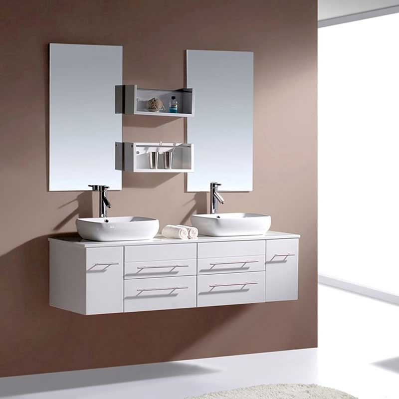 Virtu USA Augustine 59 Double Bathroom Vanity Set in White