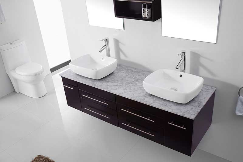 Virtu USA Augustine 59 Double Bathroom Vanity Set in Espresso