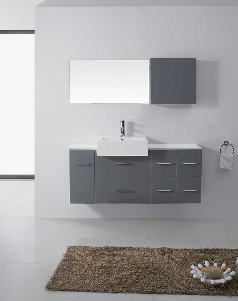 Virtu USA Hazel 55 Single Bathroom Vanity Set in Grey