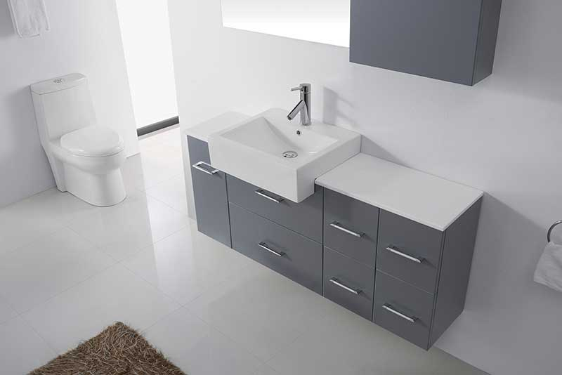 Virtu USA Hazel 55 Single Bathroom Vanity Set in Grey 3