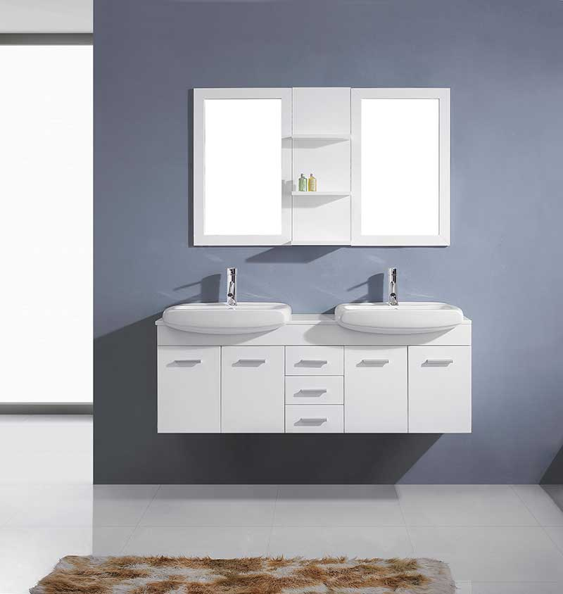 Virtu USA Ophelia 59 Double Bathroom Vanity Set in White