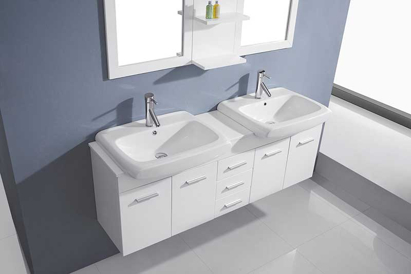 Virtu USA Ophelia 59 Double Bathroom Vanity Set in White 3