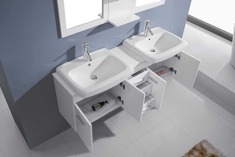 Virtu USA Ophelia 59 Double Bathroom Vanity Set in White 4