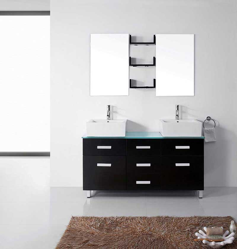 "Virtu USA Maybell 56"" Double Bathroom Vanity Cabinet Set in Espresso"