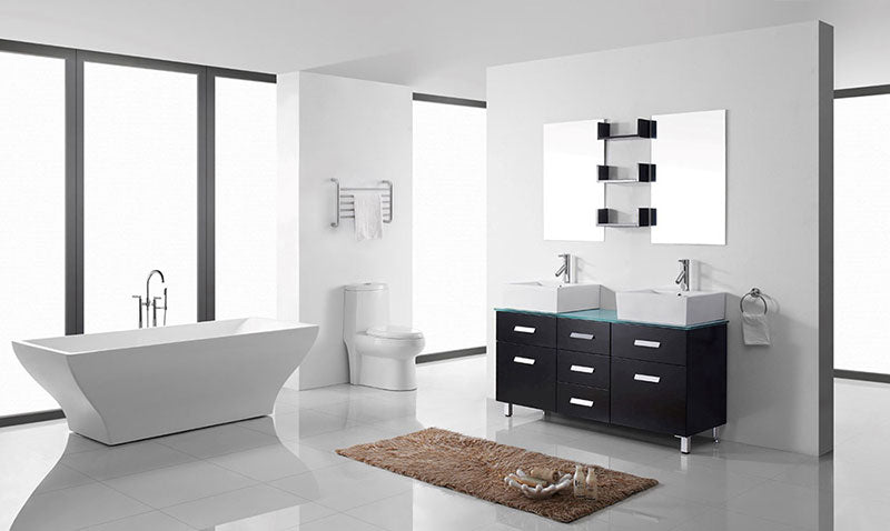"Virtu USA Maybell 56"" Double Bathroom Vanity Cabinet Set in Espresso 2"