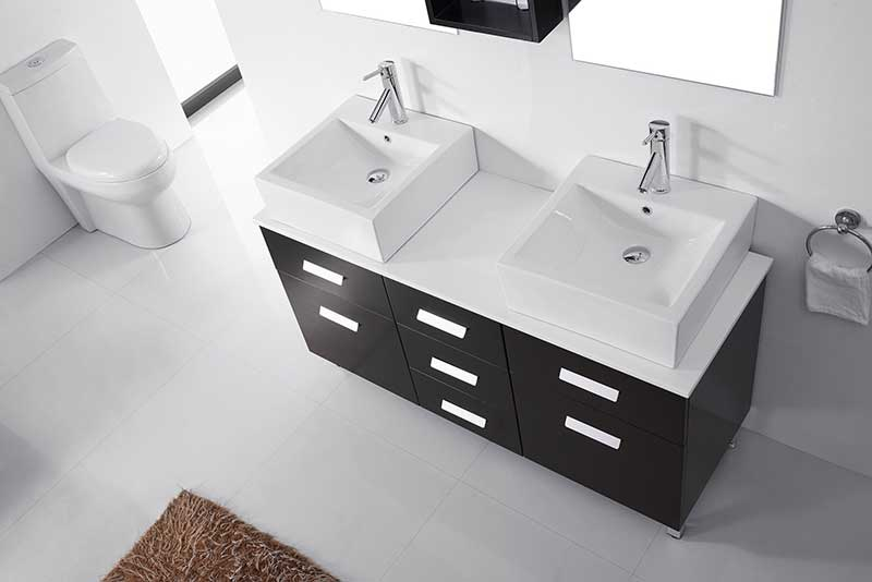 Virtu USA Maybell 56 Double Bathroom Vanity Set in Espresso