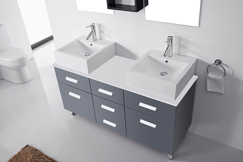 "Virtu USA Maybell 56"" Double Bathroom Vanity Cabinet Set in Grey"