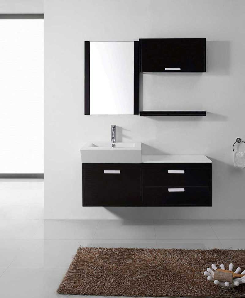"Virtu USA Alicia 51"" Single Bathroom Vanity Cabinet Set in Espresso"
