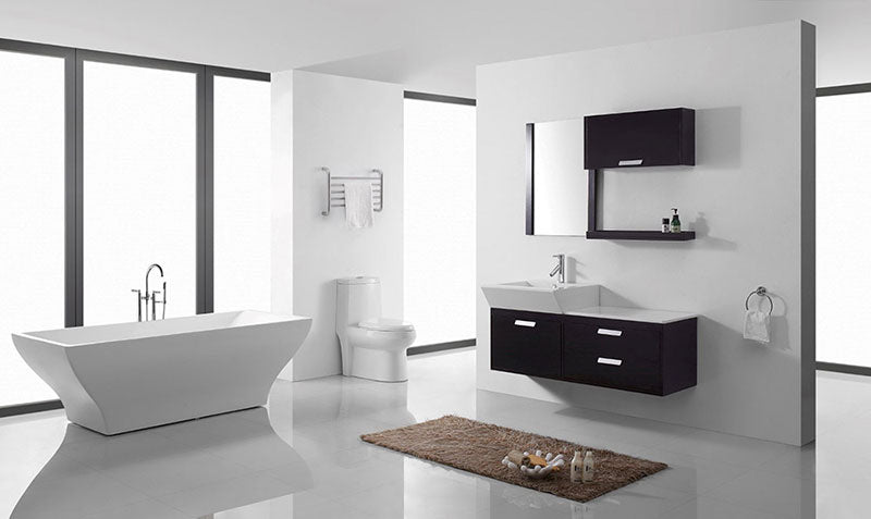 "Virtu USA Alicia 51"" Single Bathroom Vanity Cabinet Set in Espresso 2"