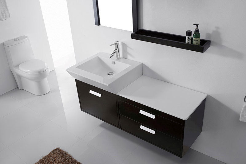 "Virtu USA Alicia 51"" Single Bathroom Vanity Cabinet Set in Espresso 3"