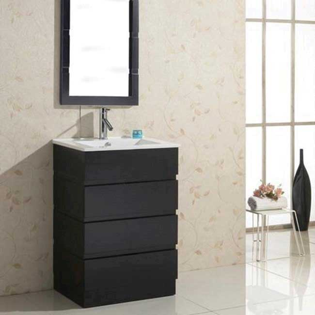 Virtu USA Bruno 24 Single Bathroom Vanity Set in Espresso