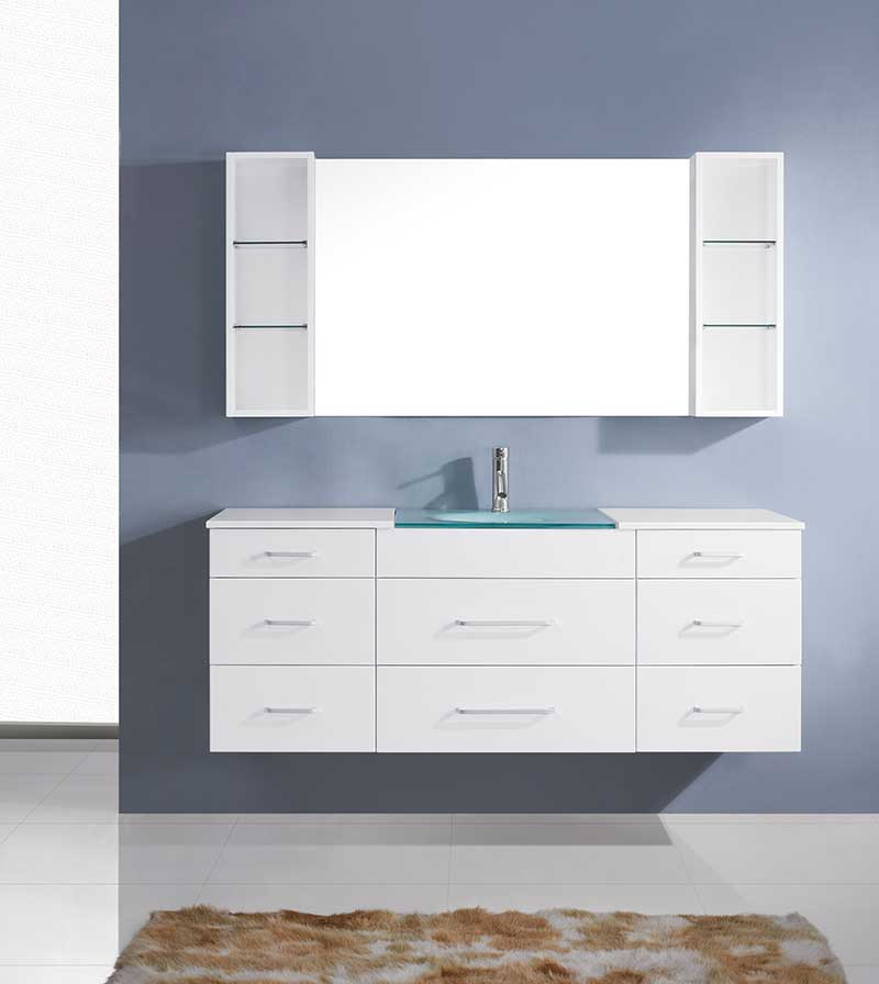 Virtu USA Columbo 63 Single Bathroom Vanity Set in White