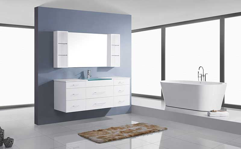 Virtu USA Columbo 63 Single Bathroom Vanity Set in White 2